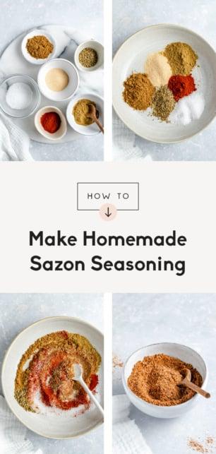 collage of how to make sazon seasoning