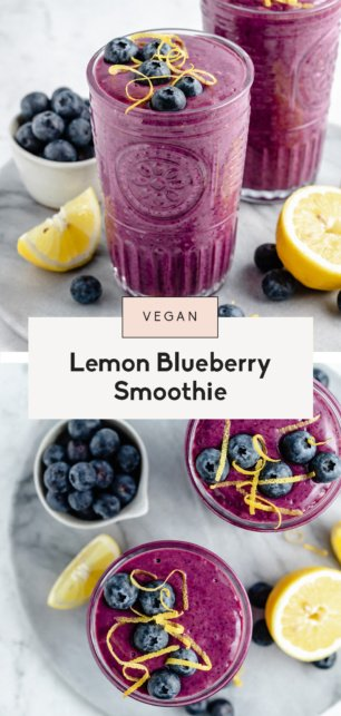 collage of a lemon blueberry smoothie
