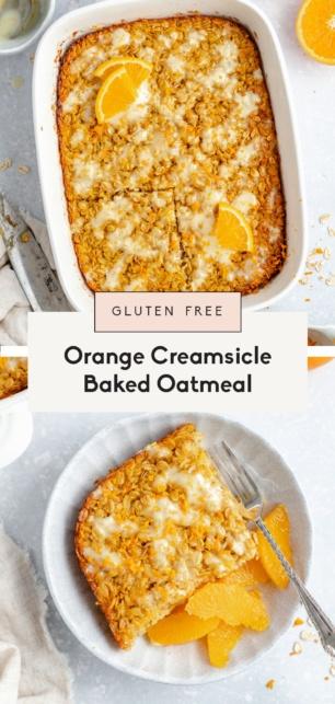 collage of orange baked oatmeal