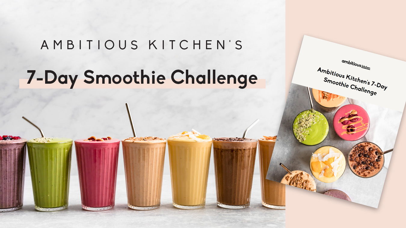 smoothies in glasses with text overlay