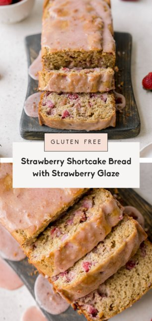 collage of healthy strawberry bread