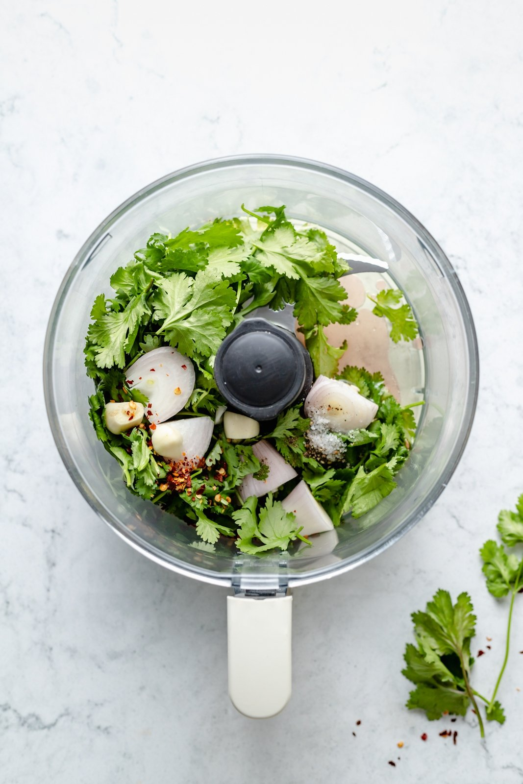 ingredients for chicken taco salad dressing in a food processor