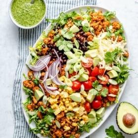 easy chicken taco salad on a platter