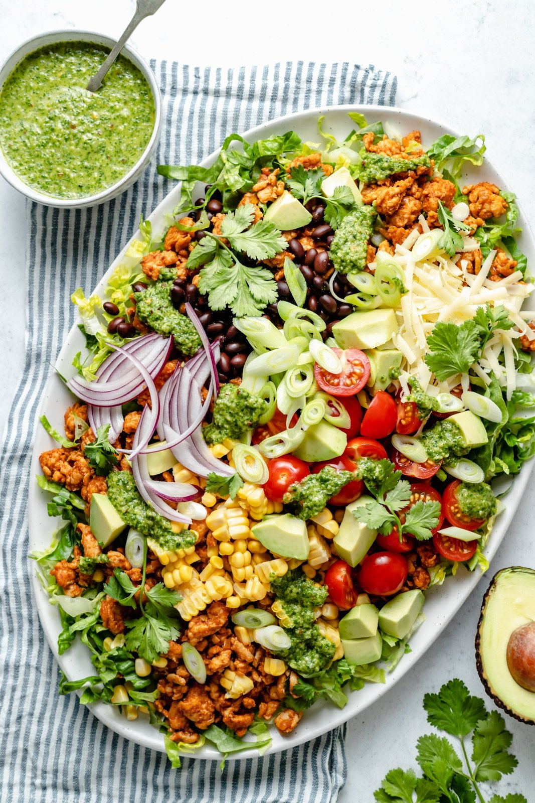healthy chicken taco salad on a platter