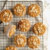 vegan banana oatmeal muffins on a wire rack