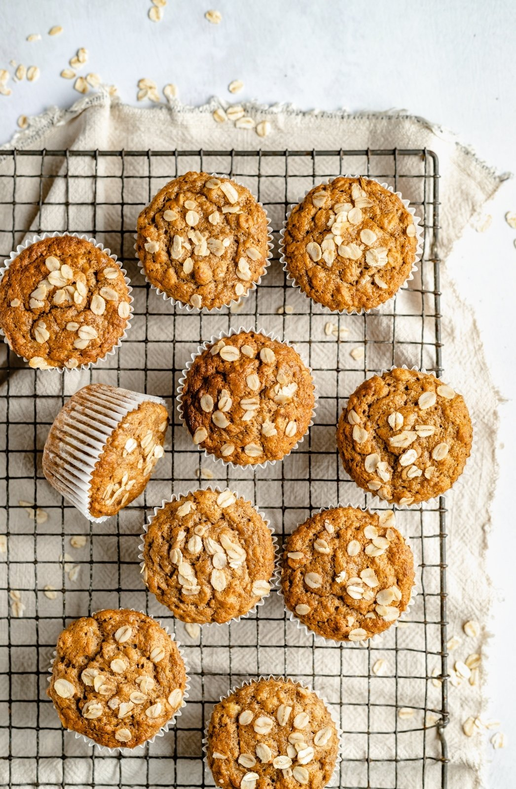healthy vegan banana bread muffins on a wire rack