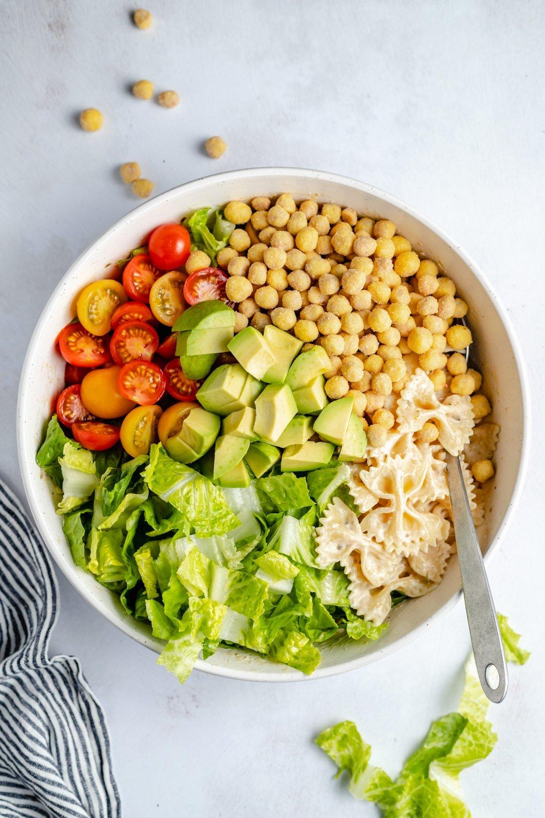 easy vegan caesar pasta salad in a bowl