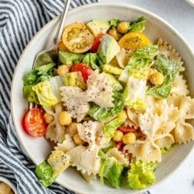 vegan caesar pasta salad in a bowl