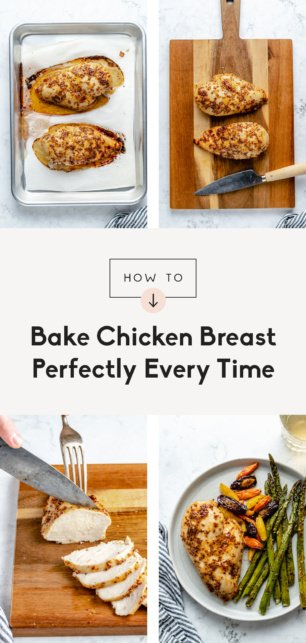 collage of how to bake chicken breast