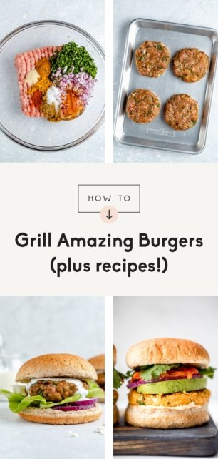 collage of how to grill burgers