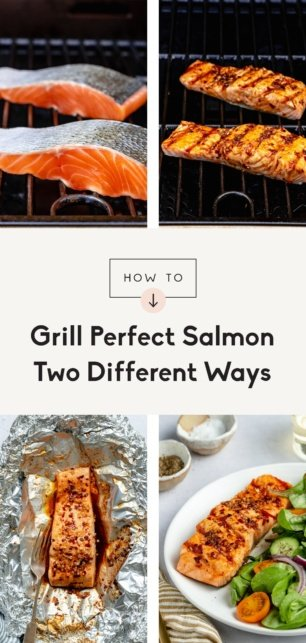 collage of how to grill salmon