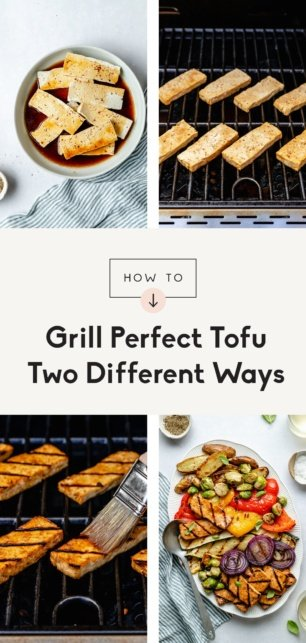 collage of how to grill tofu