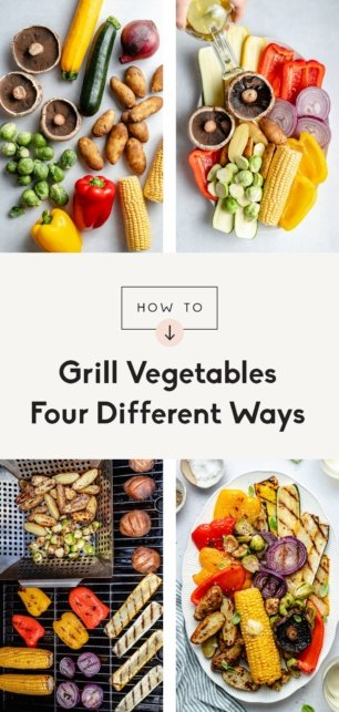 collage of how to grill vegetables