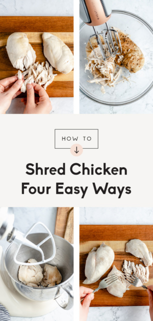 collage of how to shred chicken