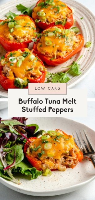 collage of tuna stuffed peppers