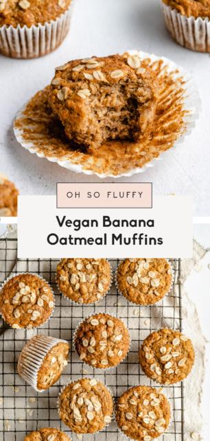 collage of vegan banana oatmeal muffins