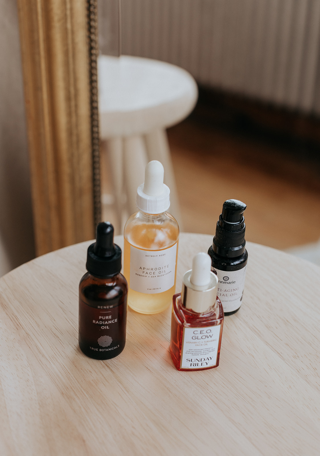 face oils on a table