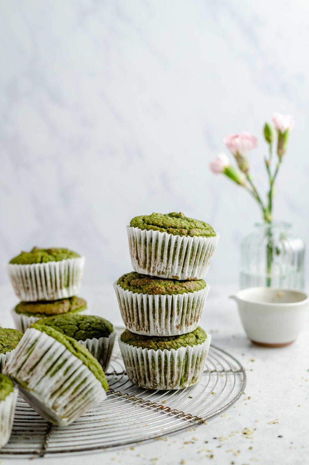 banana spinach muffins in a stack