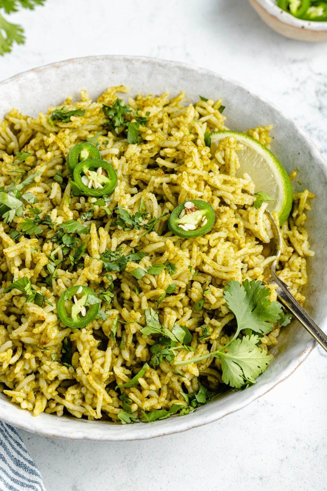 easy green rice recipe in a bowl