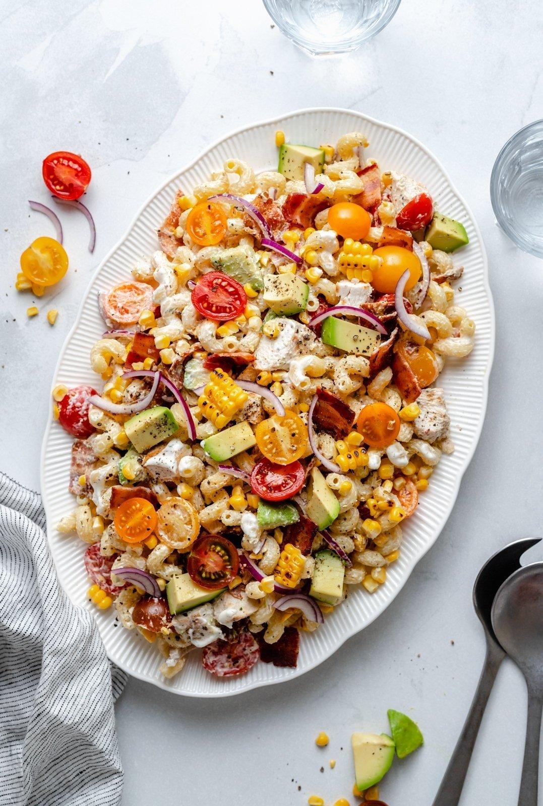 healthy chicken bacon pasta salad on a platter