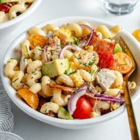 grilled chicken bacon pasta salad in a bowl