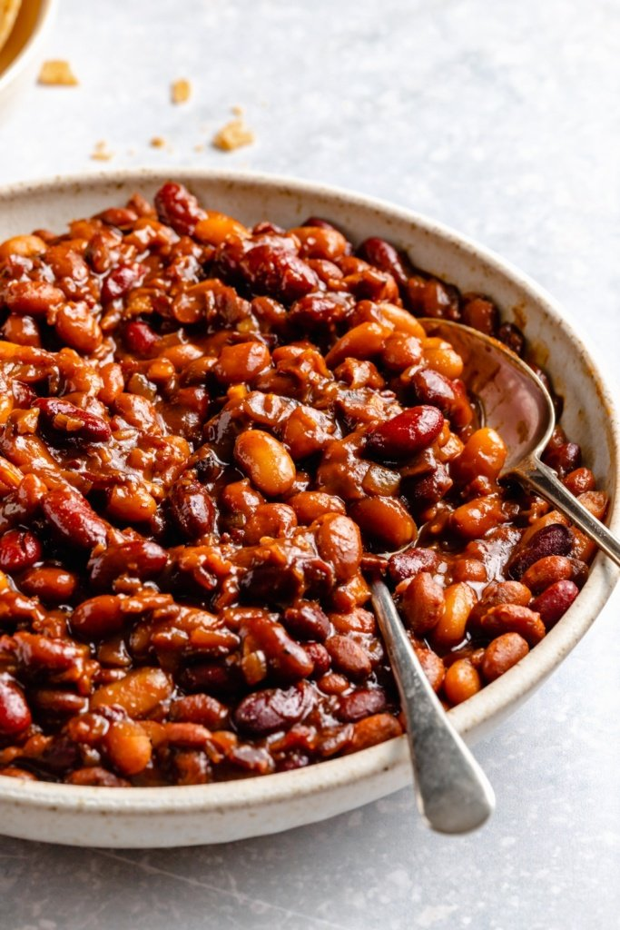 slow cooker baked beans in a bowl