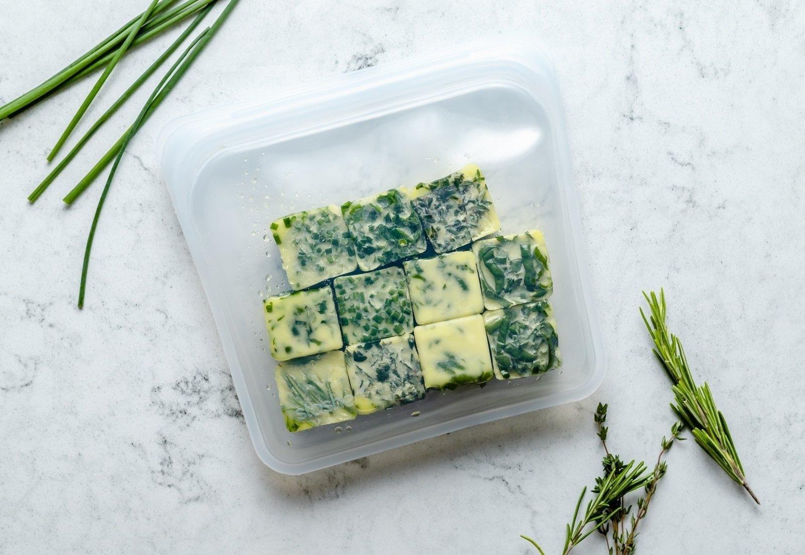frozen herbs in a reusable bag