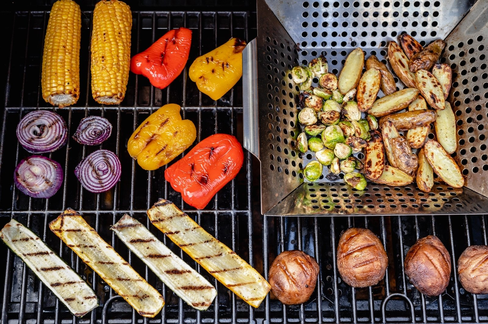 grilling vegetables directly on a grill and in a grill basket