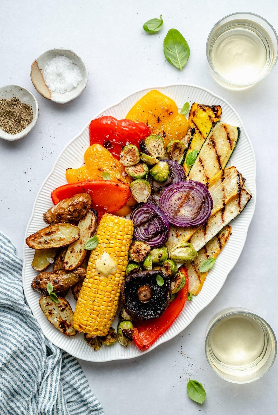 grilled vegetables on a platter