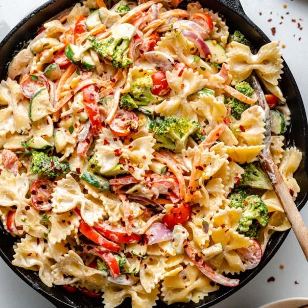 vegan pasta primavera in a skillet