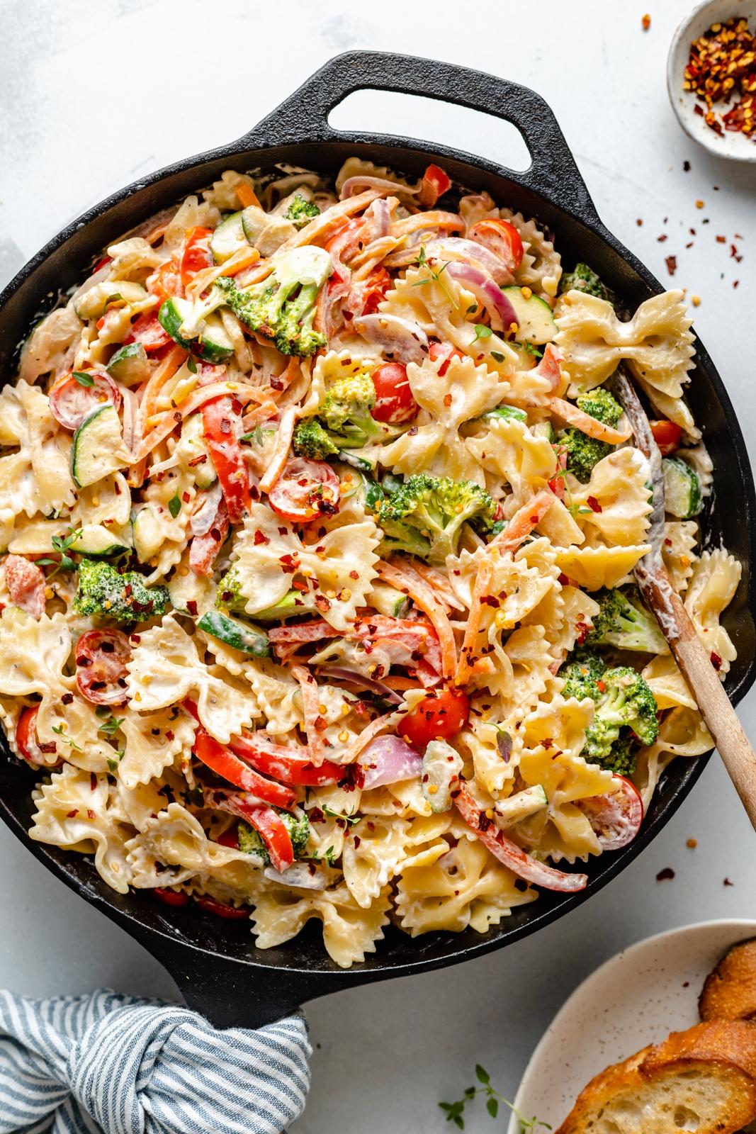 easy vegan pasta primavera in a skillet