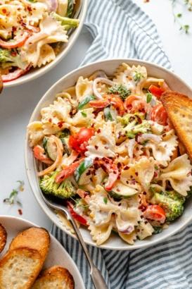 vegan pasta primavera in a bowl