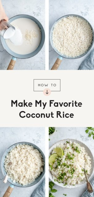 collage of how to make coconut rice