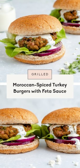 collage of moroccan spiced turkey burgers