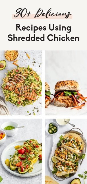 collage of shredded chicken recipes