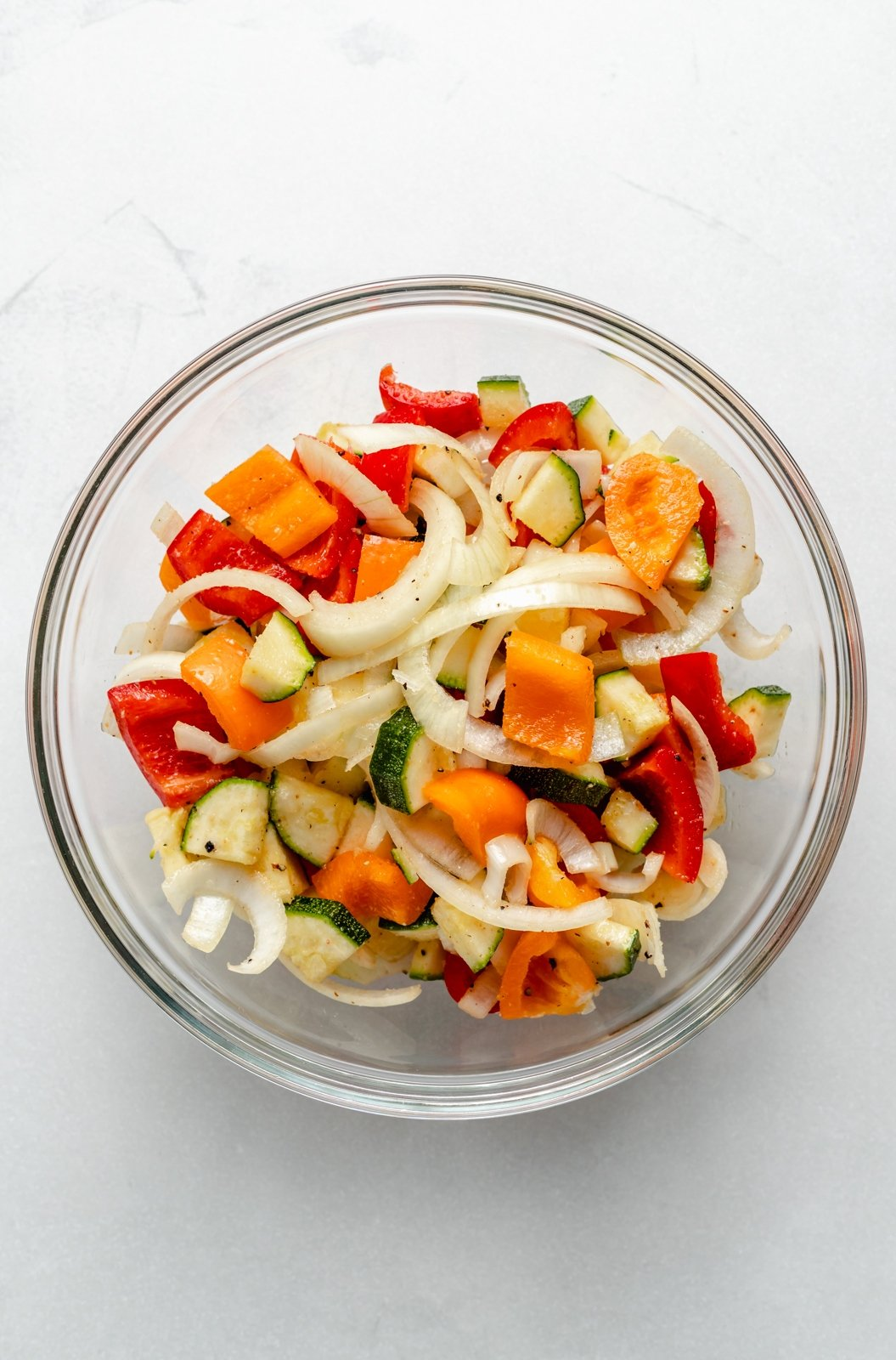 vegetables in a bowl ready to be grilled