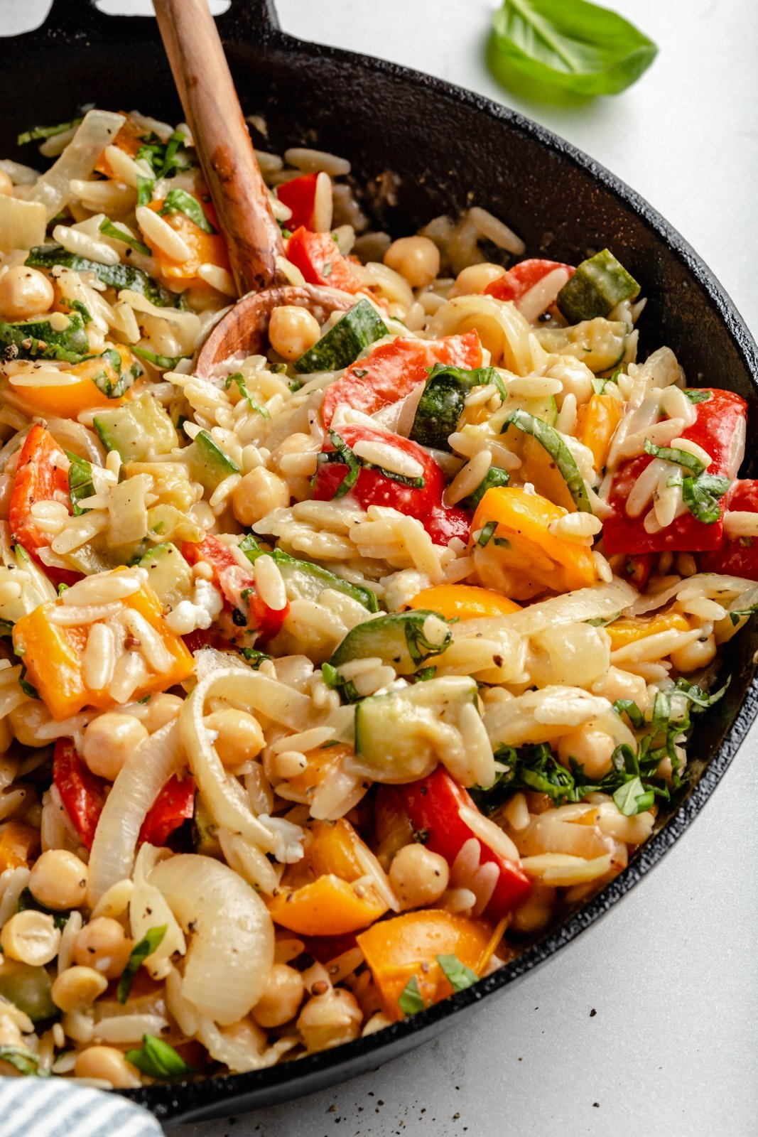 grilled veggie orzo in a skillet