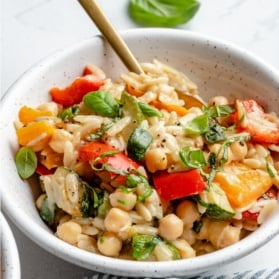 grilled vegetable orzo in a bowl
