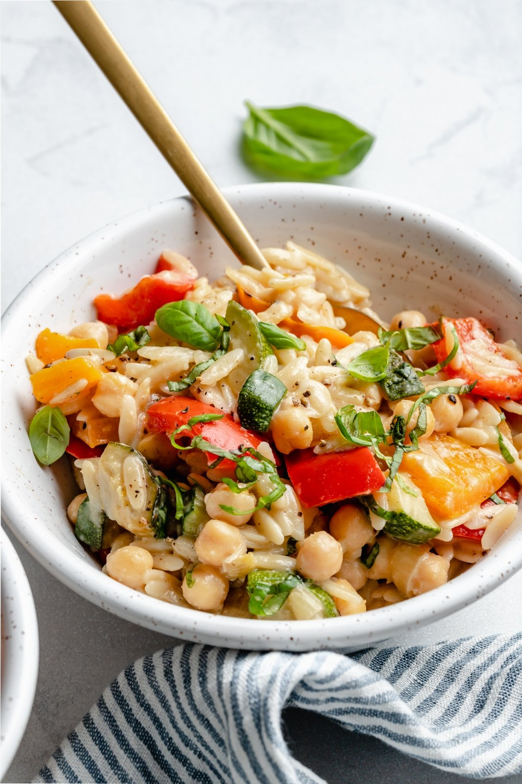healthy vegetable orzo in a bowl