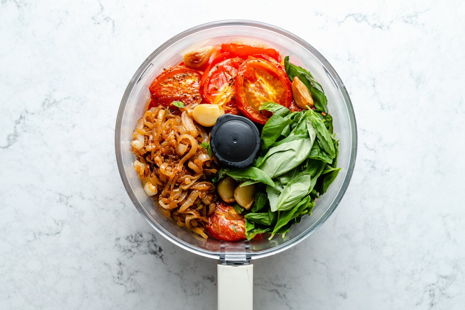 ingredients in a food processor to make a tomato sauce recipe