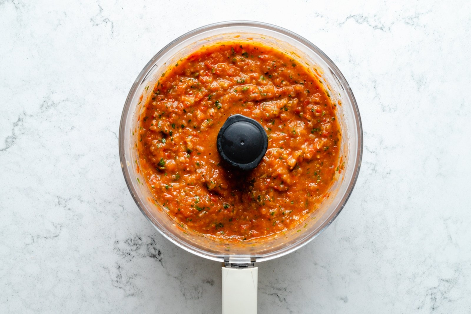 homemade tomato sauce in a food processor