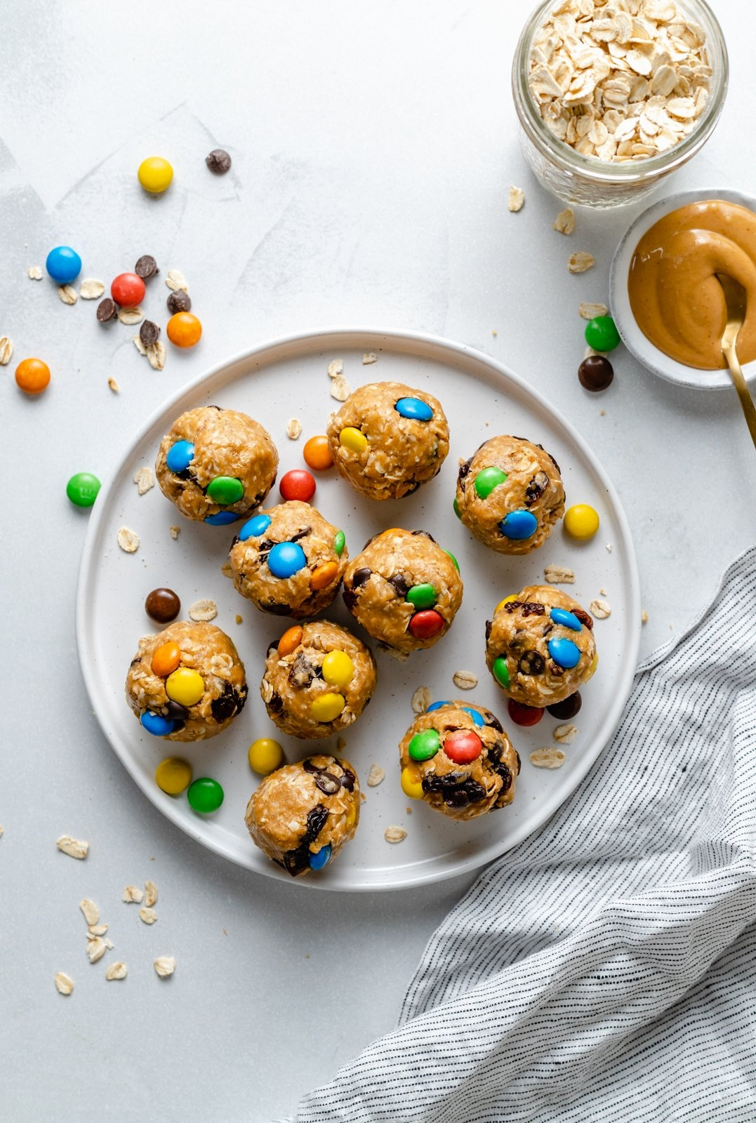 gluten free monster cookie energy bites on a plate