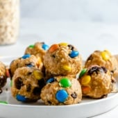 no bake monster cookie energy bites on a plate
