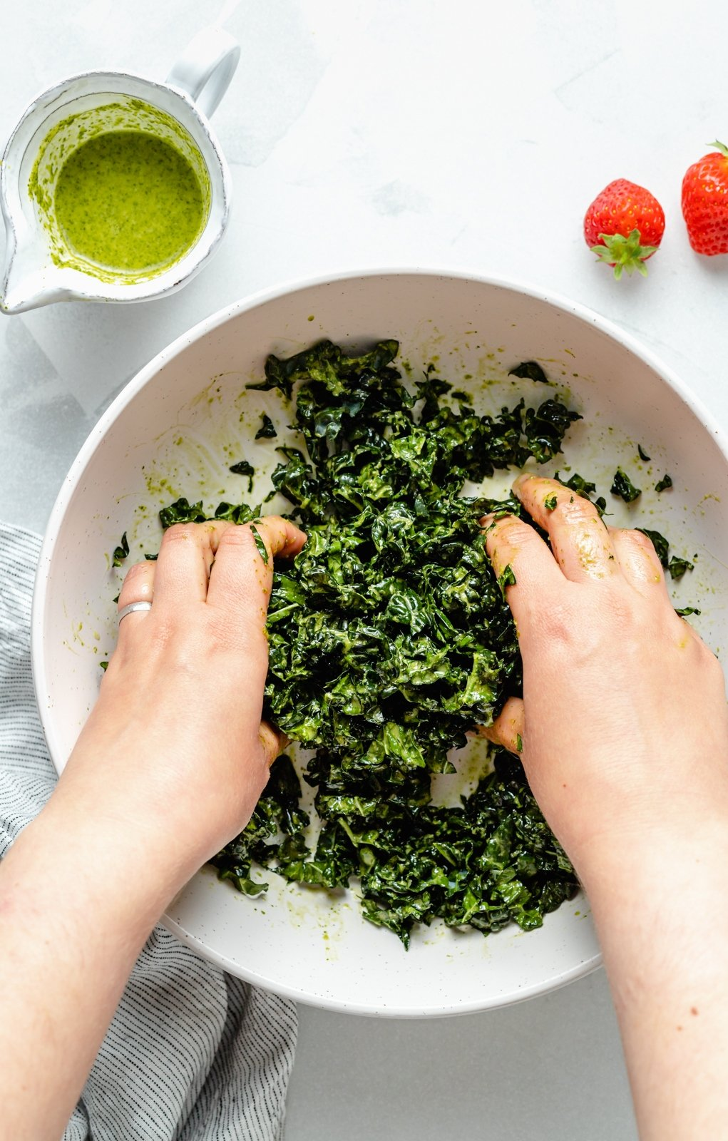 massaging kale with cilantro lime dressing