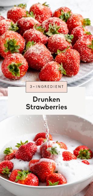 collage of drunken strawberries