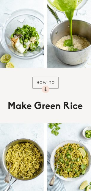 collage of a green rice recipe