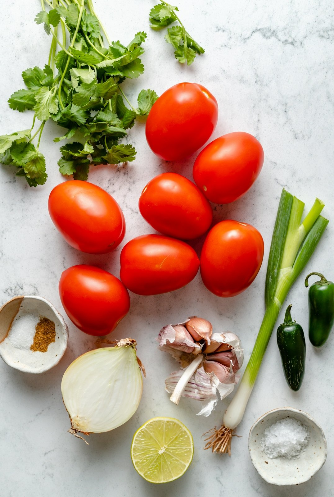 ingredients for easy homemade salsa on a board
