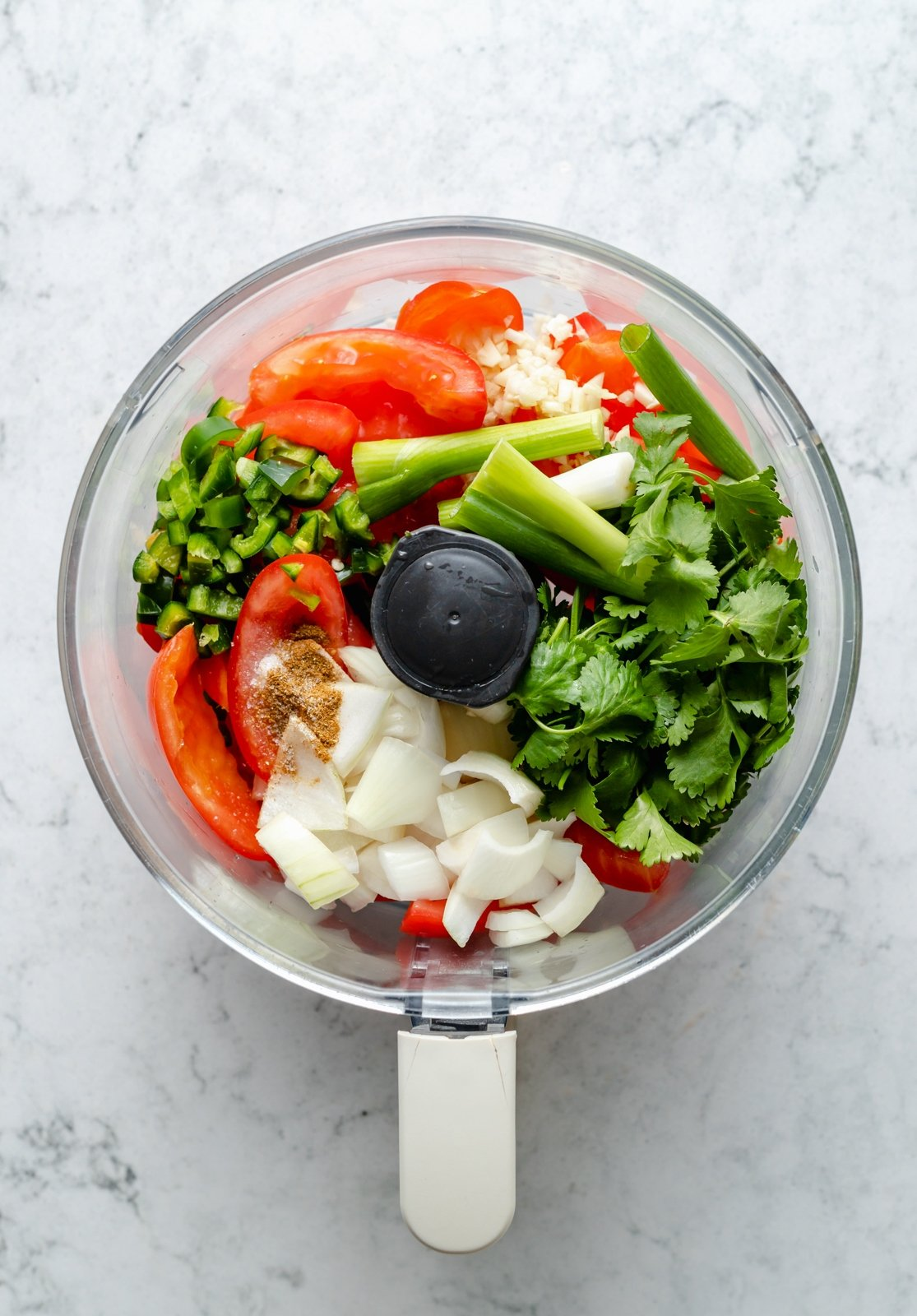 ingredients to make easy homemade salsa in a food processor