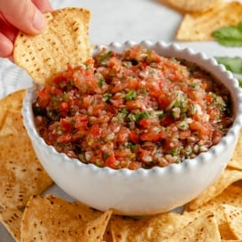 dipping a chip into homemade tomato salsa