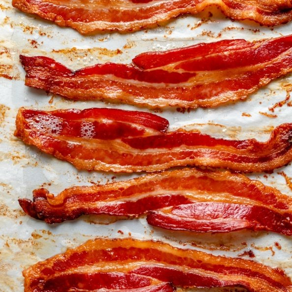 oven-baked bacon on a baking sheet